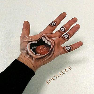 نقاشی های سه بعدی توهم انگیز در کف دست