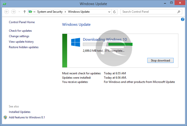 Windows 10 force download 3