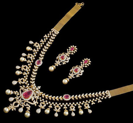 مدل های سرویس جواهرات با نگین های رنگارنگ