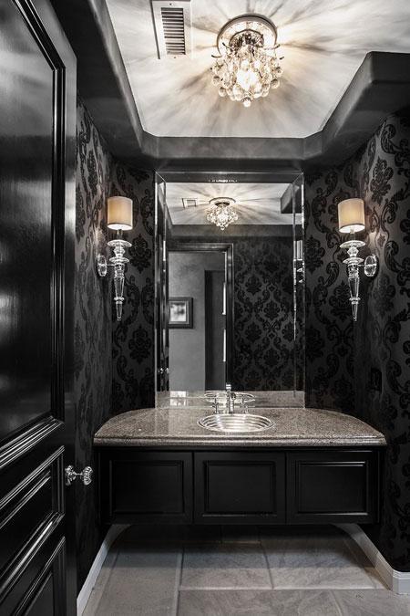 دیزاین و دکوراسیون به رنگ تیره دستشویی و حمام