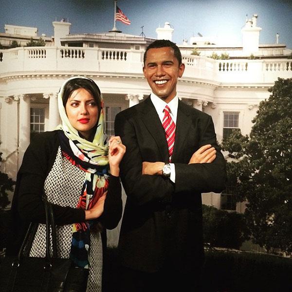 عکس هلیا امامی در کنار باراک اوباما و مونالیزا