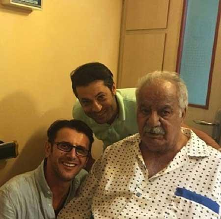عکس امین حیایی در کنار ناصر ملک مطیعی در بیمارستان