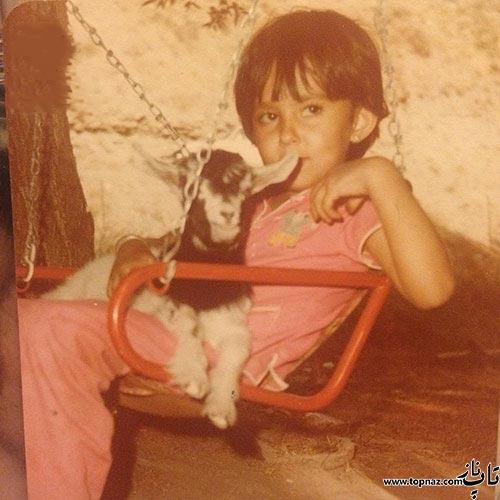 عکس از بچگی پرستو صالحی با بزش!