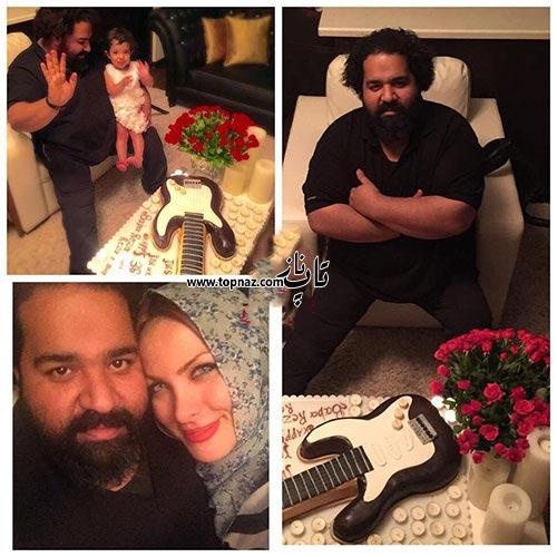 عکس رضا صادقی در کنار همسرش در روز تولدش