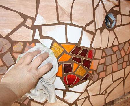 کاشی شکسته روی دیوار آشپزخانه,کاربرد معرق کاشی در خانه