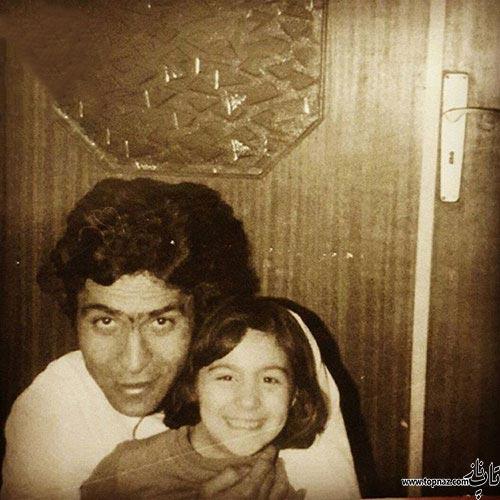 عکس دیده نشده فلامک جنیدی در آغوش پدرش
