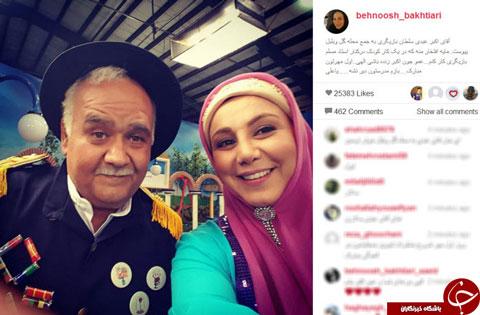 عکس بهنوش بختیاری و اکبر عبدی در محله گل و بلبل