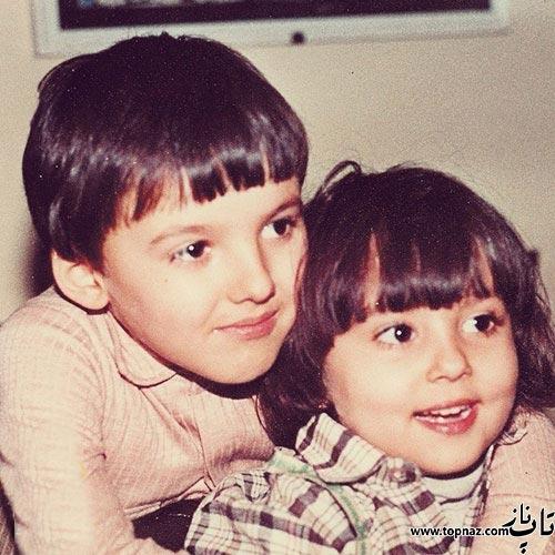 عکس دیده نشده پرستو صالحی در کنار برادرش در کودکی
