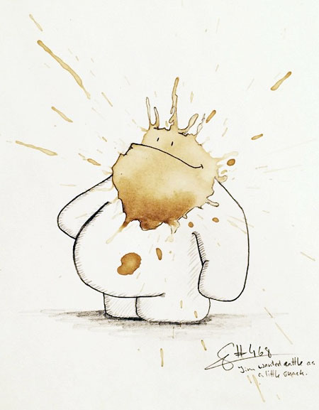 عکس از نقاشی های خلاقانه با لکه های قهوه