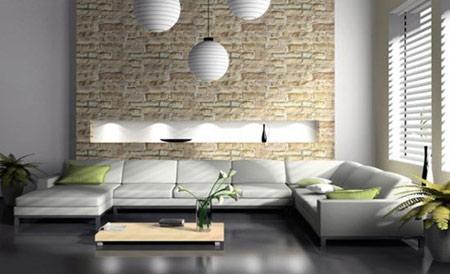 مدل دیوارهای سنگی اتاق نشیمن