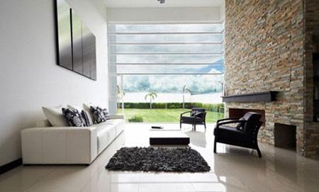 ایده برای دیوارهای سنگی در اتاق نشیمن,دیوارهای سنگی در طراحی داخلی