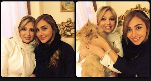 عکس نیوشا ضیغمی و خواهرش روشا با حیوان خانگی اش