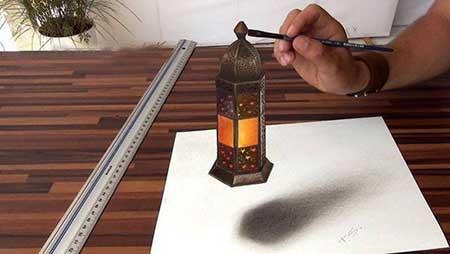 نقاشی های 3D سه بعدی زیبا روی کاغذ