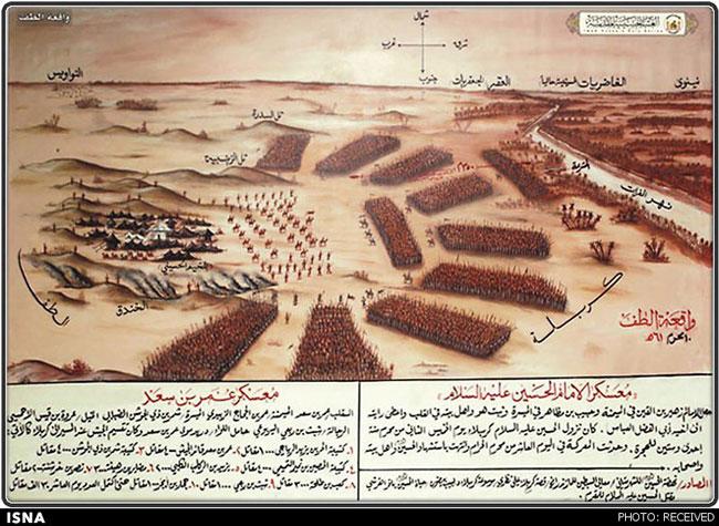 عکس آرایش یاران امام حسین (ع) در کربلا و سپاه یزید