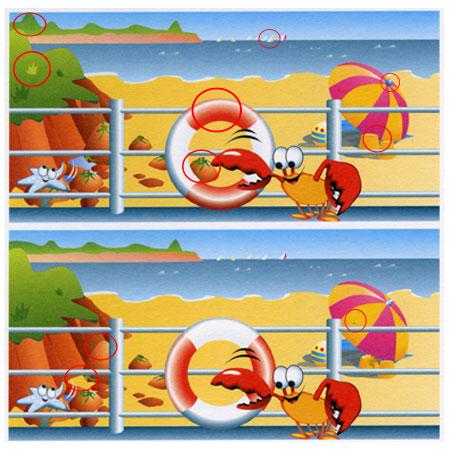 بازی اختلاف تصویر, تفاوت ها را پیدا کن
