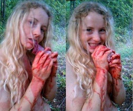 عکس های دختر برهنه در جسد اسب خونین!