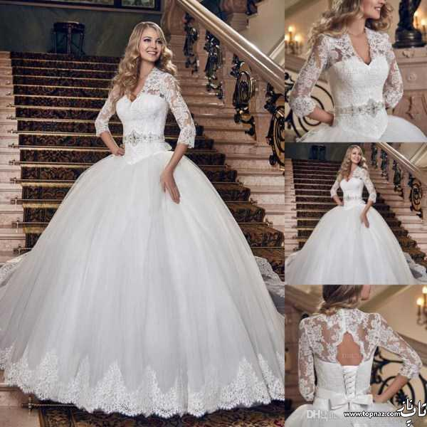مدل لباس عروس آستین دار دانتل و سنگ دوزی 2017