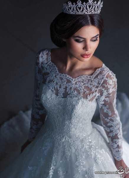 مدل لباس عروس آستین دار دانتل و سنگ دوزی 2016