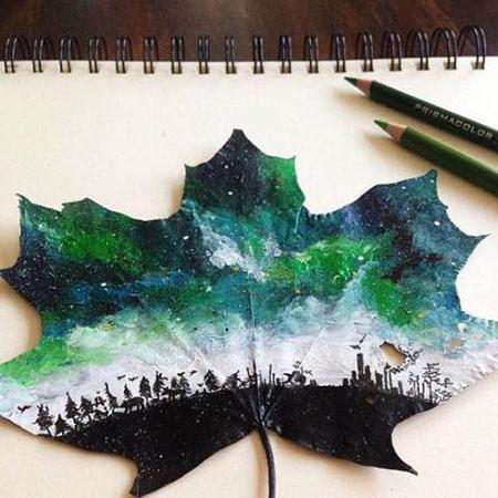 نقاشی های جذاب دختری روی برگ درختان