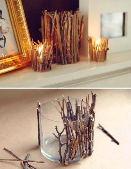 تزیینات چوبی منزل,گلدانی از شاخه های خشک و میوه های کاج