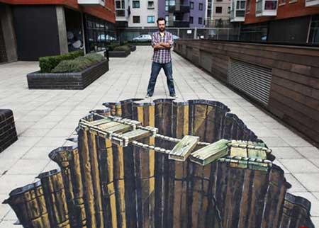 طرح های سه بعدی شگفت انگیز در کف خیابان