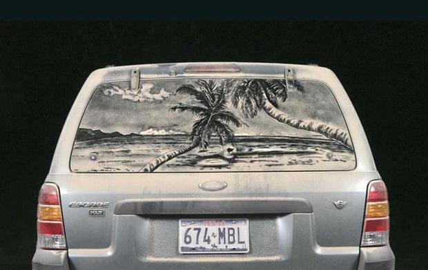 عکس های دیدنی از نقاشی های زیبا روی ماشین کثیف