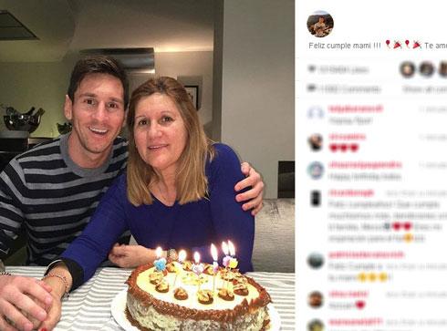 عکس لیونل مسی در کنار مادرش در جشن تولدش