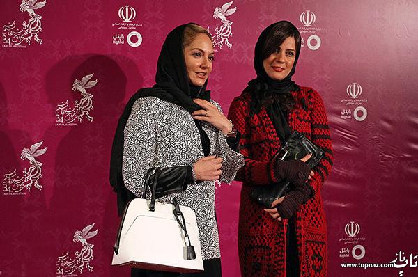 سارا بهرامی و مهناز افشار در افتتاحیه سی و چهارمین جشنواره فیلم فجر
