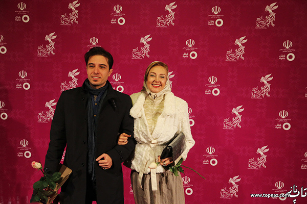 کتایون ریاحی و پسرش در افتتاجیه سی و چهارمین جشنواره فیلم فجر