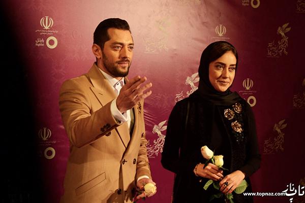 بهاره کیان افشار و بهرام رادان روی فرش قرمز جشنواره 34 فیلم فجر