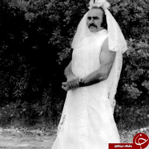 عکس جالب بازیگر مرد معروف در لباس عروس!