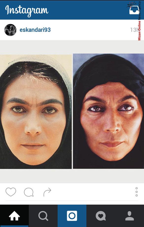 عکس جالب پروانه معصومی بازیگر ایرانی با 2 گریم متفاوت