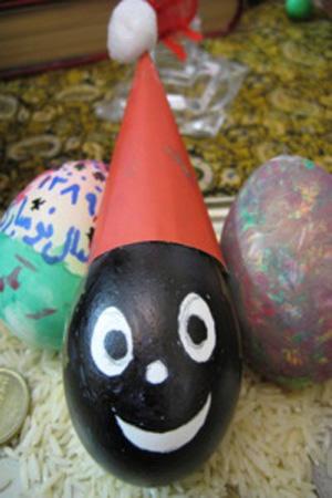 تخم مرغ هفت سین به شکل حاجی فیروز