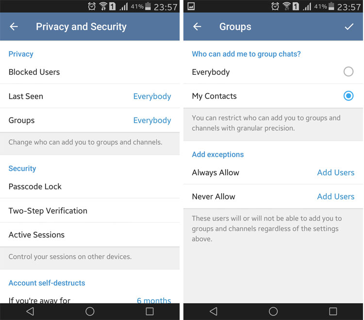 مسدود کردن پیام ها و دعوت های تبلیغاتی ناخواسته تلگرام