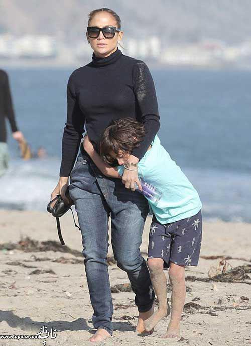 عکس های جنیفر لوپز و بچه هایش در ساحل