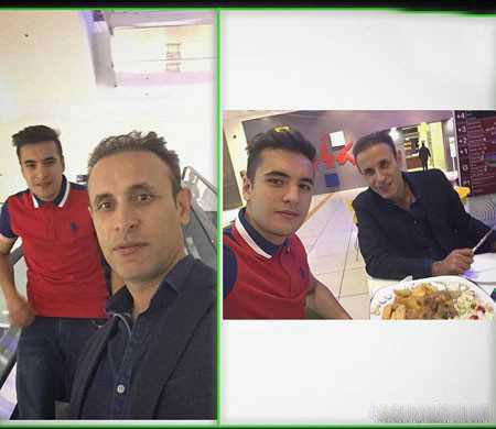 سلفی یحیی گلمحمدی با پسرش امیرحسین در یک رستوران.