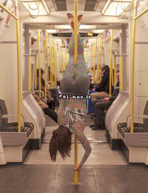 عکس های جالب رقصیدن دختر در مترو!