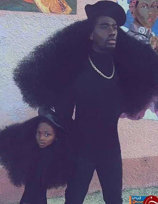 عکس های پدر و دختر سیاه پوست که به دلیل موهایشان معروف شدند!