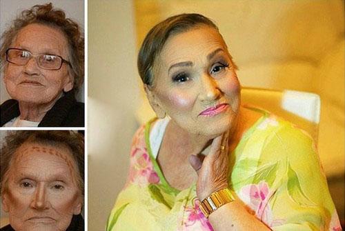عکس های جالب و دیدنی آرایش کردن پیرزن 80 ساله!