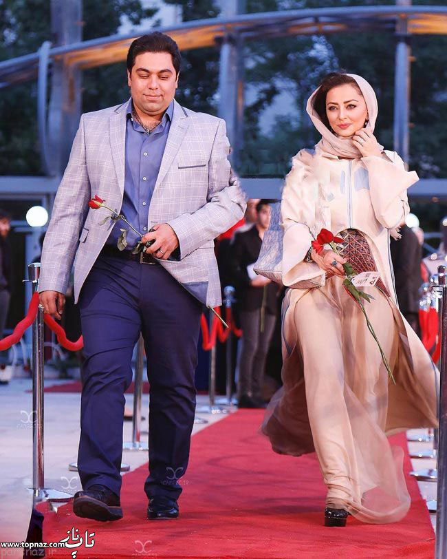 عکس بازیگران و همسرانشان - نفیسه روشن با همسرش در جشن حافظ