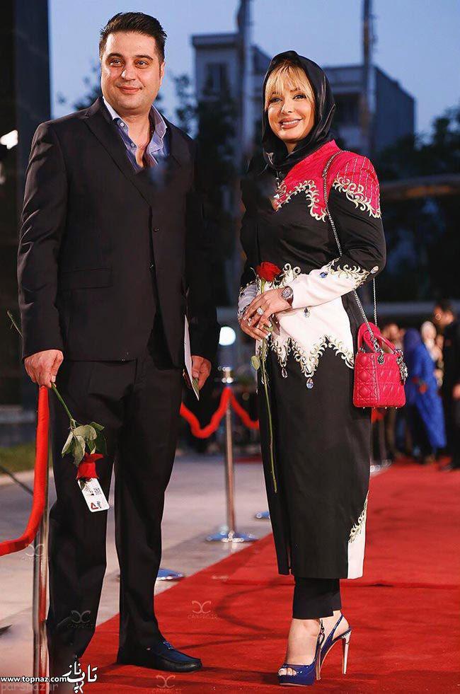 عکس بازیگران و همسرانشان - نیوشا ضیغمی با همسرش در جشن حافظ