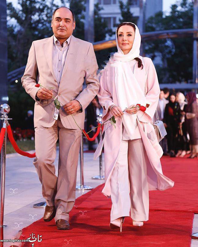 عکس بازیگران و همسرانشان - حدیث فولادوند با همسرش رامبد شکرآبی در جشن حافظ