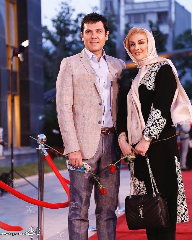 عکس بازیگران و همسرانشان - کورش تهامی با همسرش در جشن حافظ