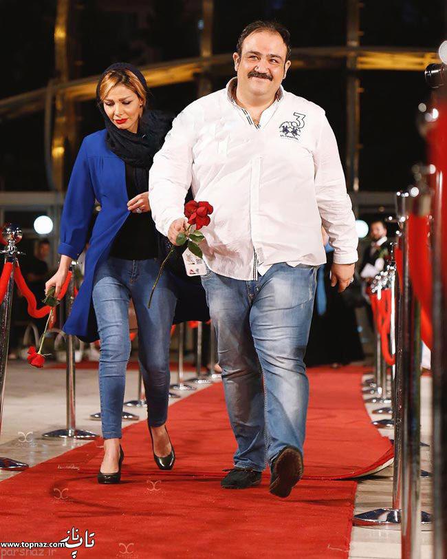 عکس بازیگران و همسرانشان -  مهران غفوریان با همسرش در جشن حافظ