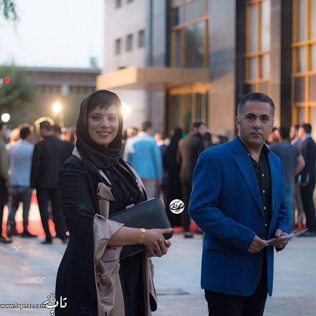 عکس بازیگران و همسرانشان - روشنک عجمیان با همسرش در جشن حافظ