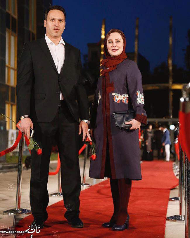 عکس بازیگران و همسرانشان - آرام جعفری با همسرش در جشن حافظ