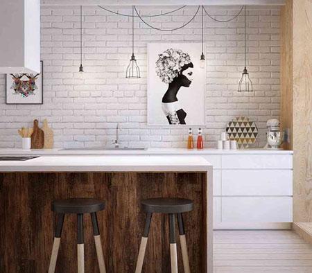 عکس های دکوراسیون آشپزخانه با طرح چوب سفید