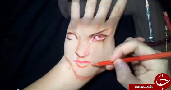 عکس از نقاشی جالب روی دست که باعث خطای دید می شود