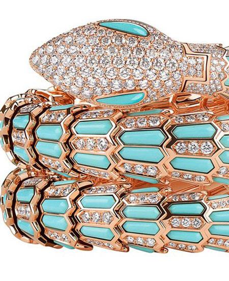 ساعت مچی «سرپنتی» از طلای صورتی 18 عیار با الماس و فیروزه از بولگاری