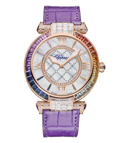 ساعت مچی «ایمپریال» از طلای صورتی با الماس و سنگ های رنگی از شوپارد